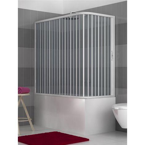 Pare-baignoire PVC à deux côtés, dim. 70 * 170 cm x H 150 cm, une porte, avec ouverture latérale.