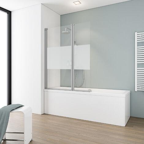 Pare-baignoire rabattable 100 x 130 cm, paroi de baignoire 2 volets Schulte, écran de baignoire pivotant Komfort, décor décent, profilé alu argenté - Transparent