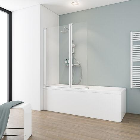 Pare-baignoire rabattable 100 x 130 cm, paroi de baignoire 2 volets Schulte, écran de baignoire pivotant Komfort, verre transparent, profilé blanc