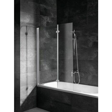 Pare-baignoire rabattable 104 x 130 cm, verre 5 mm, paroi de baignoire 2 volets, écran de baignoire pivotant, profilé alu argenté, Komfort, Schulte