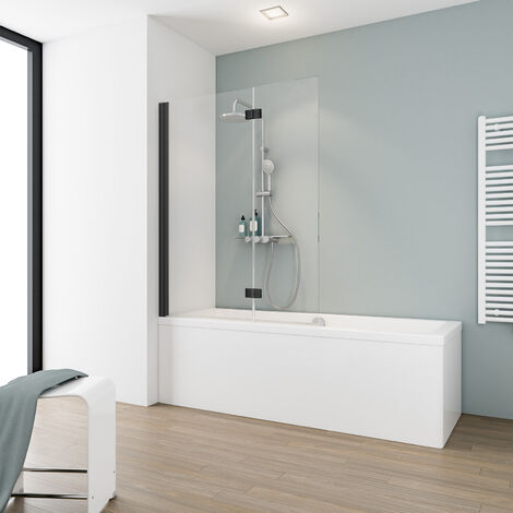 Pare-baignoire rabattable 104 x 130 cm, verre 5 mm, paroi de baignoire 2 volets, écran de baignoire pivotant, profilé noir, Komfort, Schulte