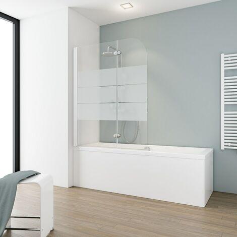 Pare-baignoire rabattable 112 x 140 cm, verre 5 mm, paroi de baignoire 2 volets, écran de baignoire pivotant, décor sablé dépoli light, profilé blanc,