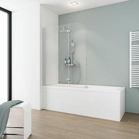 Pare-baignoire rabattable 112 x 140 cm, verre 5 mm, paroi de baignoire 2 volets, écran de baignoire pivotant, Komfort Express-Plus Schulte, verre transparent, profilé alu-argenté - Transparent