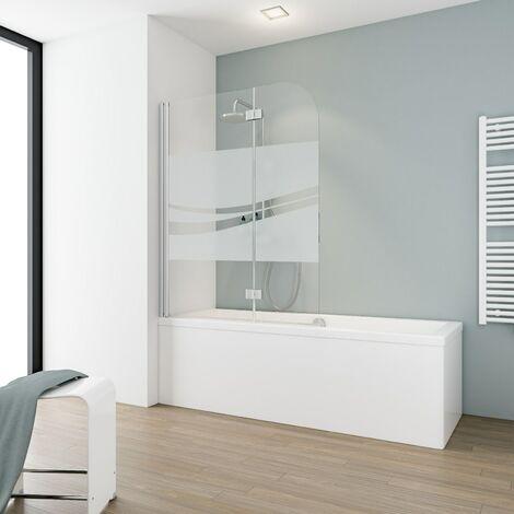 Pare-baignoire rabattable 112 x 140 cm, verre 5 mm, paroi de baignoire 2 volets, écran de baignoire pivotant, Komfort Schulte, décor liane, profilé aspect-chromé - Liane