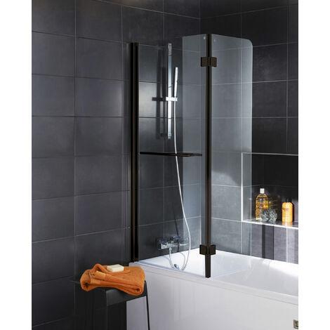 Pare-baignoire rabattable 112 x 150 cm, verre transparent anticalcaire 5 mm, profilé noir, paroi de baignoire 2 volets, écran de baignoire pivotant, Schulte