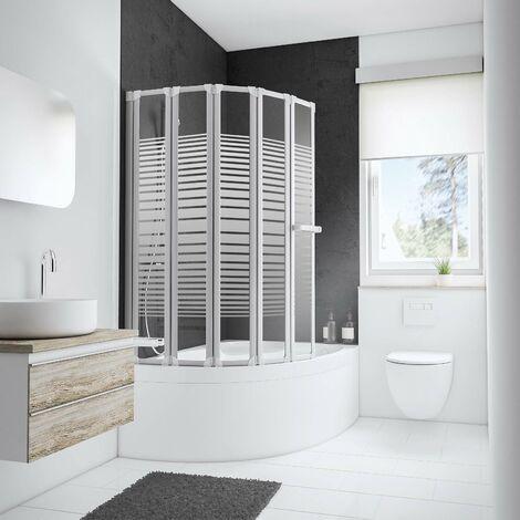 Pare-baignoire rabattable, 115 x 140 cm, paroi de baignoire 5 volets, écran de baignoire pivotant, décor rayures horizontales, verre 3 mm, profilés blancs, Eden Plus, Schulte