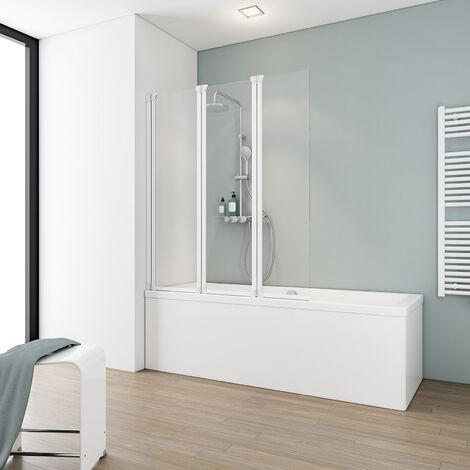 Pare-baignoire rabattable 124 x 130 cm, paroi de baignoire 3 volets, écran de baignoire pivotant, verre transparent, profilé blanc, Komfort, Schulte