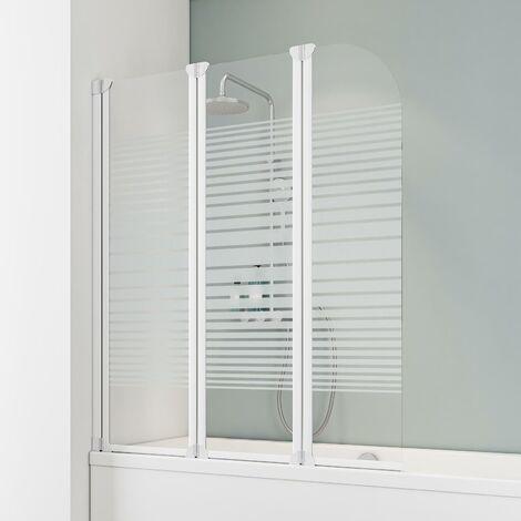Pare-baignoire rabattable 125 x 140 cm, paroi de baignoire 3 volets Komfort, écran de baignoire pivotant Schulte, profilé blanc, décor rayures horizontales - Rayures horizontales