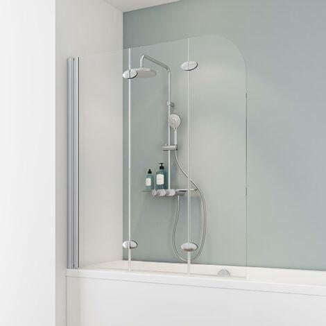 Pare-baignoire rabattable 125 x 140 cm, verre 5 mm, paroi de baignoire 3 volets, écran de baignoire pivotant, Komfort Express-Plus Schulte, profilé alu-argenté, verre transparent - Transparent