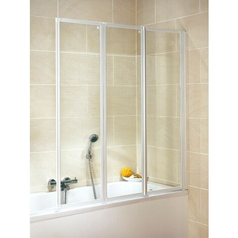 Pare-baignoire rabattable, 127 x 140 cm, paroi de baignoire 3 volets, écran de baignoire pivotant, décor quattro, profilés blancs, Schulte
