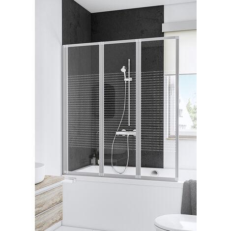 Pare-baignoire rabattable, 127 x 140 cm, paroi de baignoire 3 volets, écran de baignoire pivotant, décor quattro, profilés blancs, Schulte - Décor quattro