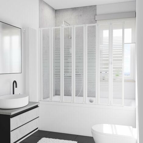 Pare-baignoire rabattable, 159 x 140 cm, paroi de baignoire 7 volets, écran de baignoire pivotant, décor rayures horizontales, verre 3 mm, profilés blancs, Eden Plus, Schulte - Décor rayures horizontales
