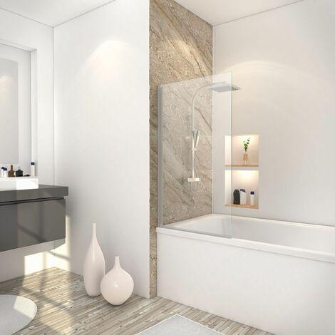 Pare-baignoire rabattable, 70 x 120 cm, verre transparent 5 mm, paroi de baignoire 1 volet Capri, écran de baignoire pivotant Schulte, profilé alu-argenté