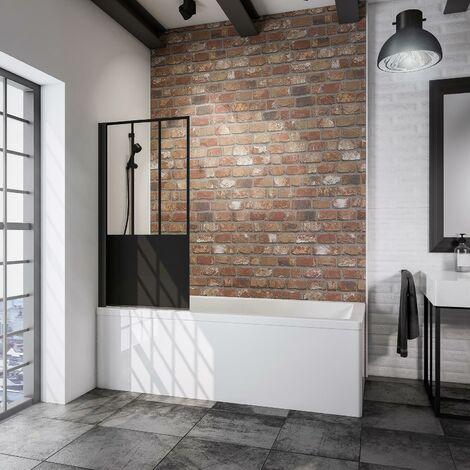 Pare-baignoire rabattable, 70 x 130 cm, verre 5 mm, paroi de baignoire 1 volet Schulte, écran de baignoire pivotant, profilé noir, verrière industrielle, décor demi-rayures noires, traitement anticalcaire - Transparent