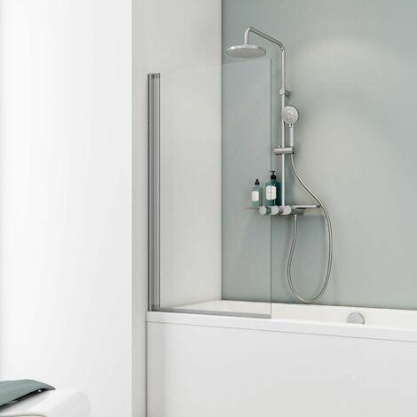 Pare-baignoire rabattable 70 x 130 cm, verre 5 mm, paroi de baignoire 1 volet, écran de baignoire pivotant, profilé alu-argenté, Capri, Schulte