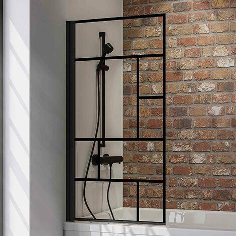 Pare-baignoire rabattable, 70 x 130 cm, verre 5 mm, paroi de baignoire 1 volet Schulte, écran de baignoire pivotant, profilé noir, verrière industrielle, décor carré
