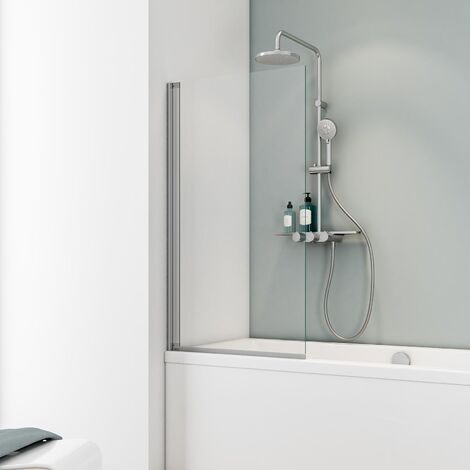 Pare-baignoire rabattable, 70 x 130 cm, verre 5 mm transparent, paroi de baignoire 1 volet Capri, écran de baignoire pivotant Schulte, profilé alu-argenté