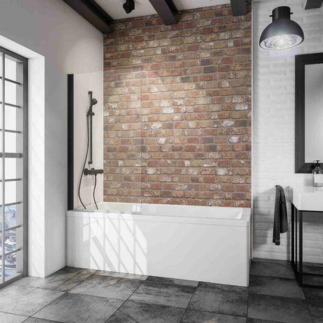 Pare-baignoire rabattable, 70 x 130 cm, verre 5 mm transparent, paroi de baignoire 1 volet Capri, écran de baignoire pivotant Schulte, profilé blanc
