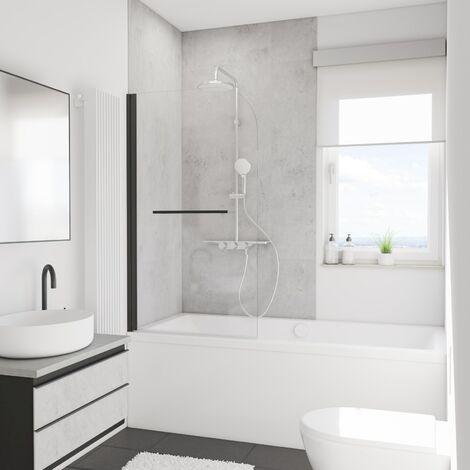 Pare-baignoire rabattable 80 x 140 cm, verre 5 mm anticalcaire, paroi de baignoire 1 volet, écran de baignoire pivotant, Capri Deluxe, Schulte, profilé aspect chromé
