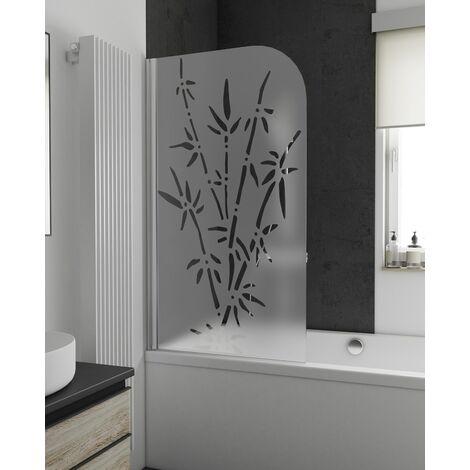 Pare-baignoire rabattable, 80 x 140 cm, verre 5 mm, paroi de baignoire 1 volet Capri Schulte, écran de baignoire pivotant, Décor bamboo, profilé aspect chromé