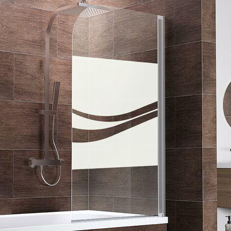 Pare-baignoire rabattable, 80 x 140 cm, verre 5 mm, paroi de baignoire 1 volet Capri Schulte, écran de baignoire pivotant, Décor rayures, profilé blanc