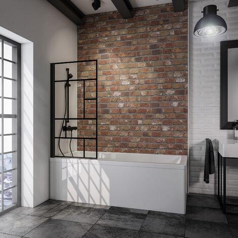Pare-baignoire rabattable, 80 x 140 cm, verre 5 mm, paroi de baignoire 1 volet, écran de baignoire pivotant, profilé noir, verrière industrielle, Schulte, décor demi-rayures noires