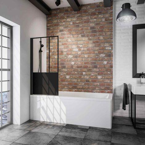 Pare-baignoire rabattable, 80 x 140 cm, verre 5 mm, paroi de baignoire 1 volet, écran de baignoire pivotant Schulte, profilé noir, verrière industrielle,, décor carré, traitement anticalcaire
