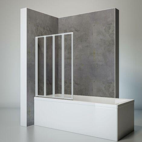 Pare-baignoire rabattable 93 x 120 cm, sans percer, paroi de baignoire 4 volets, écran de baignoire pivotant à coller, profilé alu argenté, Schulte