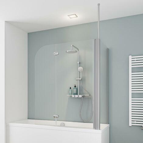 Pare-baignoire rabattable avec paroi latéral, 70 x 115 x 140 cm, verre 5 mm, paroi de baignoire 2 volets, écran de baignoire pivotant, Komfort Express-Plus Schulte, verre transparent, profilé alu-argenté - Transparent