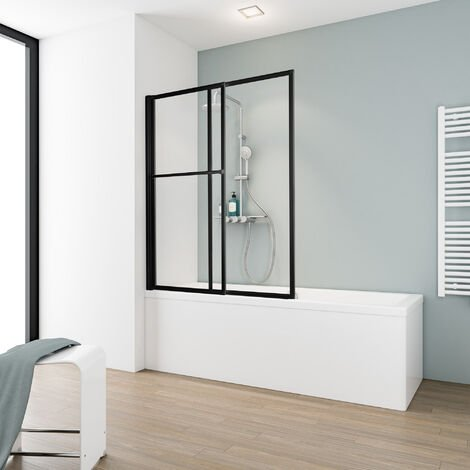 Pare-baignoire rabattable et coulissant, 70 - 118 x 140 cm, paroi de baignoire extensible 2 volets, Schulte style industriel, profilé noir, verre transparent 5 mm - Transparent