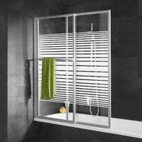 Pare-baignoire rabattable, paroi de baignoire extensible 70 - 118 x 140 cm, écran de baignoire 2 volets, verre transparent décor rayures horizontales, profilé alu nature, Schulte
