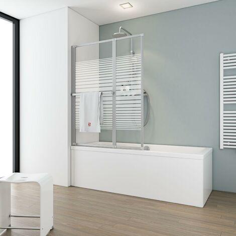 Pare-baignoire rabattable, sans percer, 109 x 140 cm, écran de baignoire pivotant à coller, paroi de baignoire 2 volets Schulte, verre 3 mm, profilé aspect chromé, décor rayures horizontales