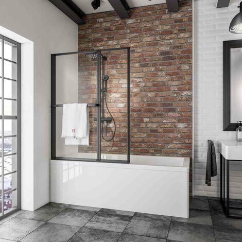 Pare-baignoire rabattable, sans percer, 109 x 140 cm, écran de baignoire pivotant à coller, paroi de baignoire 2 volets Schulte, verre 3 mm, profilé noir, verre transparent
