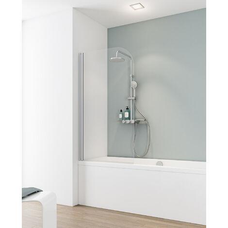 Pare-baignoire rabattable sans percer, 80 x 140 cm, verre 5 mm, paroi de baignoire avec kit à coller, profilé alu nature, verre transparent, Capri, Schulte