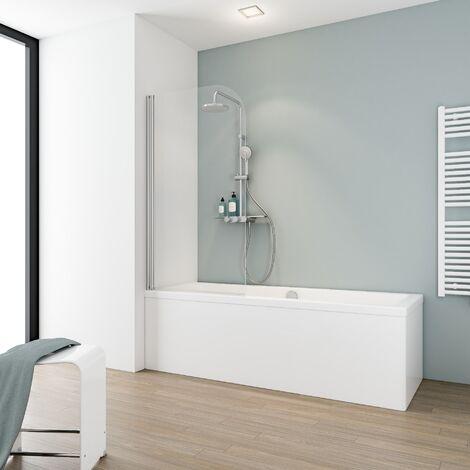 Pare-baignoire rabattable sans percer, 80 x 140 cm, verre 5 mm, paroi de baignoire avec kit à coller, profilé aspect chromé, verre transparent, Capri, Schulte
