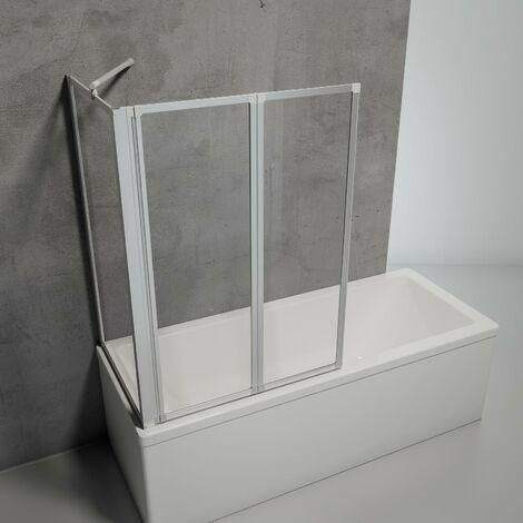 Pare-baignoire rabattable, sans percer, �cran de baignoire pivotant � coller Schulte, verre 3 mm, 2 volets pliants + 1 paroi lat�rale, profil� alu-argent�