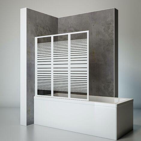 Pare-baignoire rabattable, sans percer, écran de baignoire pivotant à coller, 127 x 120 cm, paroi de baignoire Schulte, 3 volets, Décors et couleur du profilé aux choix