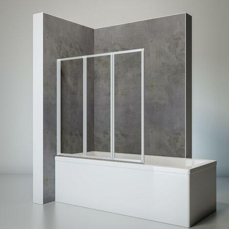 Pare-baignoire rabattable, sans percer, écran de baignoire pivotant à coller, 127 x 120 cm, paroi de baignoire Schulte, verre 3 mm, 3 volets, Verre transparent, profilé alu argenté