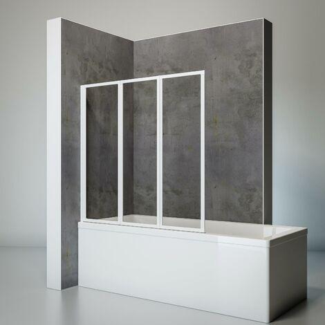 Pare-baignoire rabattable, sans percer, écran de baignoire pivotant à coller, 127 x 120 cm, paroi de baignoire Schulte, verre 3 mm, 3 volets, Verre transparent, profilé blanc