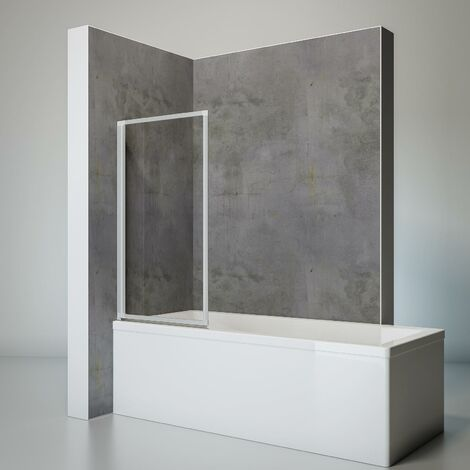 Pare-baignoire rabattable, sans percer, écran de baignoire pivotant à coller, paroi de baignoire Schulte, verre 3 mm transparent, profilé alu argenté, 4 volets, 93 x 120 cm