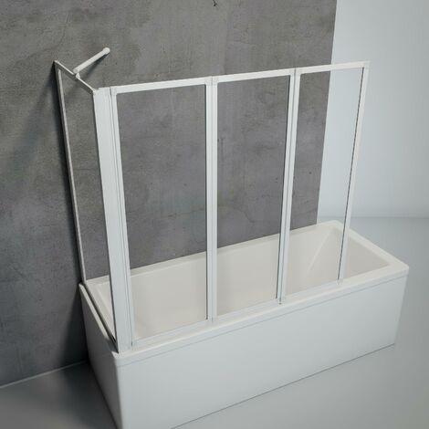Pare-baignoire rabattable, sans percer, écran de baignoire pivotant à coller Schulte, 2 volets pliants + 1 paroi latérale, profilé alu-argenté, diménsions aux choix