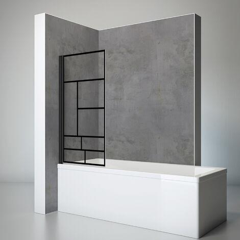 Pare-baignoire rabattable, verre 5 mm, paroi de baignoire 1 volet, écran de baignoire pivotant, Capri, Schulte, Atelier verrière industrielle, 70 x 130 cm, profilé noir