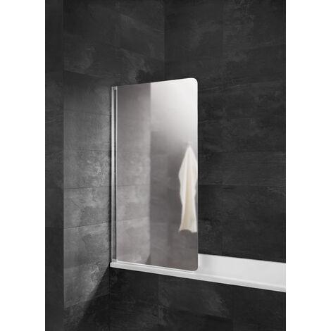 Pare-baignoire rabattable, verre 5 mm, paroi de baignoire 1 volet, écran de baignoire pivotant, Capri, Schulte, Verre miroir, 80 x 140 cm, profilé aspect chromé