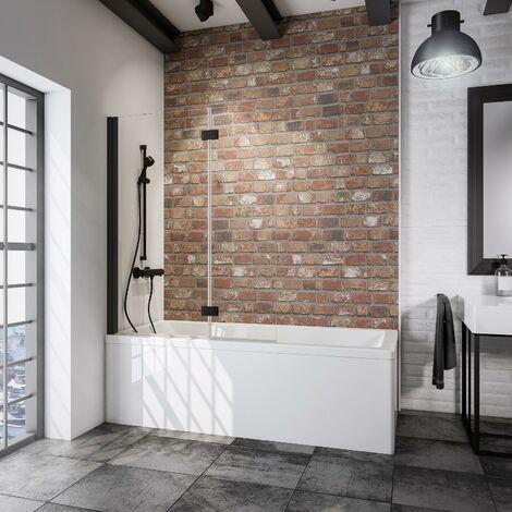 Pare-baignoire rabattable, verre 5 mm, paroi de baignoire 2 volets, écran de baignoire pivotant, Capri, Schulte, Verre transparent, 112 x 140 cm, profilé noir - Transparent