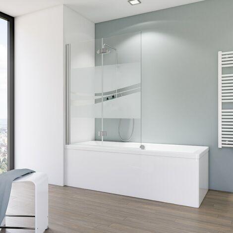 Pare-baignoire rabattable, verre 5 mm, paroi de baignoire 2 volets, écran de baignoire pivotant Schulte, 114 x 140 cm, décor rayures horizontales , profilé blanc - blanc