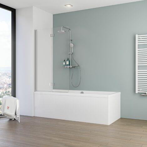 Pare-baignoire rabattable, verre 5 mm, paroi de baignoire 2 volets, écran de baignoire pivotant Schulte, 90 x 140 cm, verre transparent , profilé alu argenté