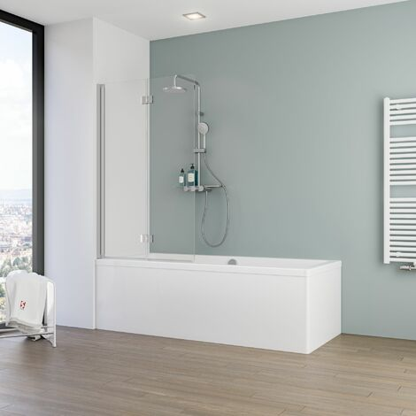 Pare-baignoire rabattable, verre 5 mm, paroi de baignoire 2 volets, écran de baignoire pivotant Schulte, 90 x 140 cm, verre transparent , profilé alu argenté - alu argenté