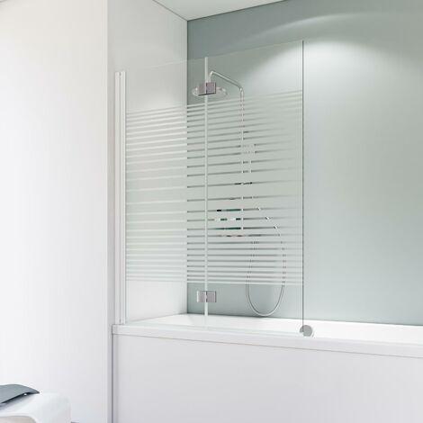 Pare-baignoire rabattable, verre 5 mm, paroi de baignoire 2 volets, écran de baignoire pivotant, Schulte, rayures horizontales , 114 x 140 cm, profilé blanc