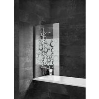 Pare-baignoire rabattable, verre 5 mm traité anticalcaire, paroi de baignoire 1 volet, Cercles, 80 x 140 cm, profilé noir, Schulte