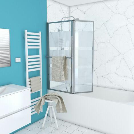 Pare baignoire relevable avec volet 130x105cm - Profilé aluminium chrome et verre transparent avec bande dépolie - HERITAGE
